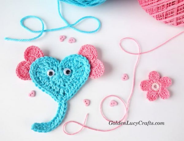 Crochet Heart Applique Elephant