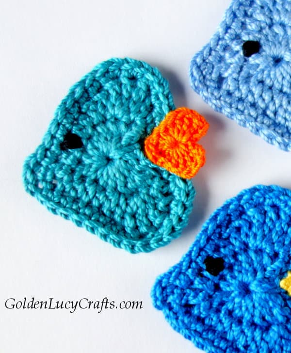 Crochet Fish applique, heart fish
