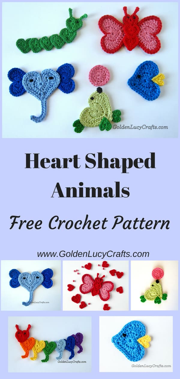Crochet heart shaped appliques, heart animals