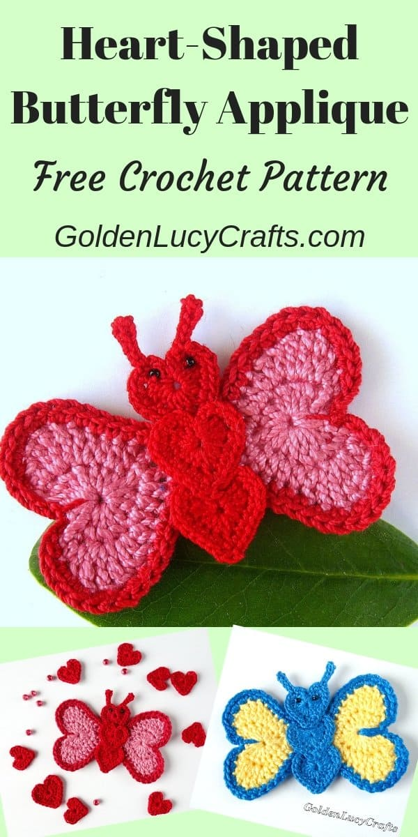 Heart-shaped butterfly applique, free crochet pattern