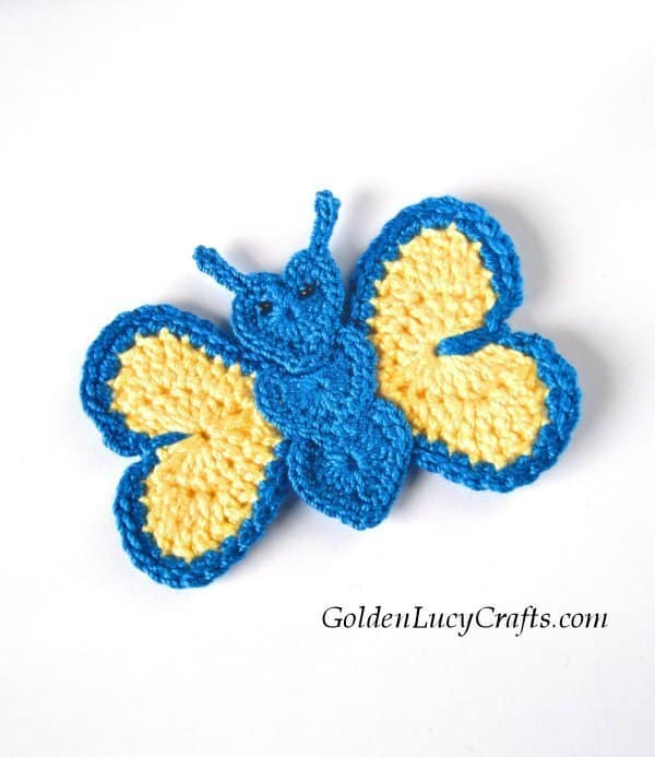 Crochet butterfly applique, butterfly made from hearts