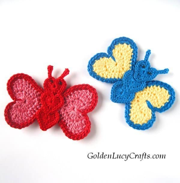 Crochet butterfly applique, heart-shaped butterfly