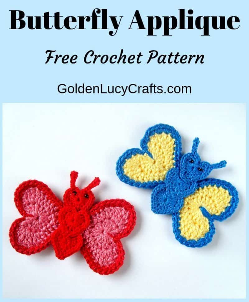 Crochet butterfly applique,free crochet pattern