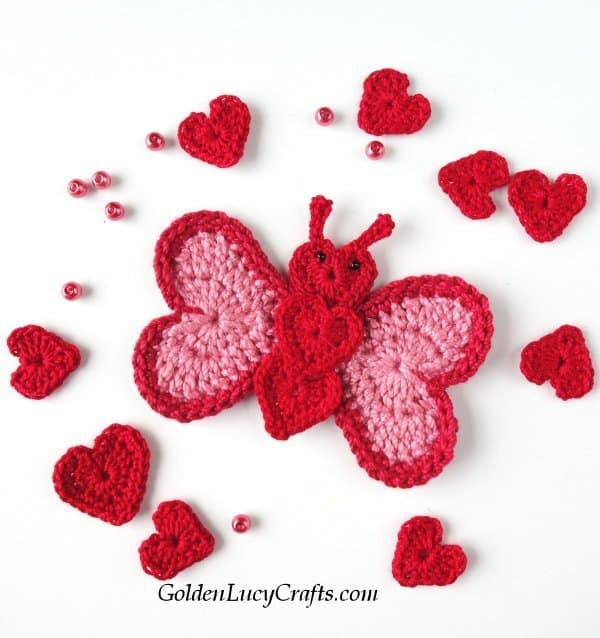 Crochet butterfly applique made from hearts, crochet hearts