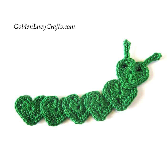 Crochet caterpillar applique, caterpillar made from hearts