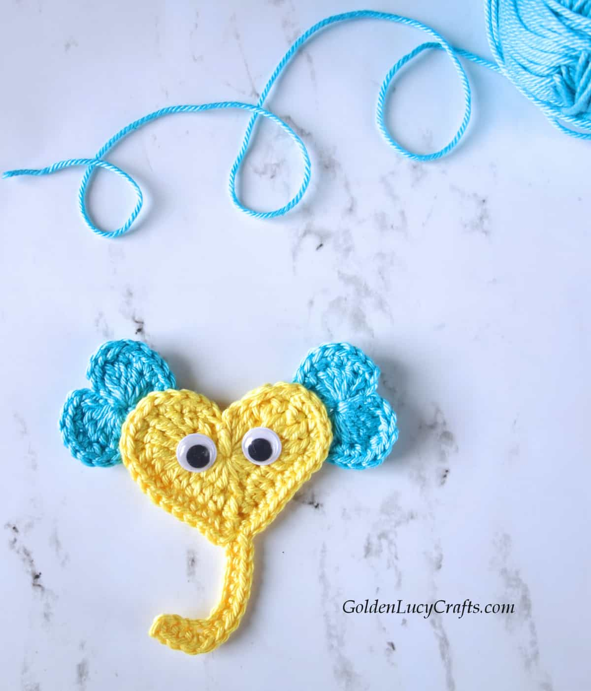 Crochet elephant made from hearts, applique