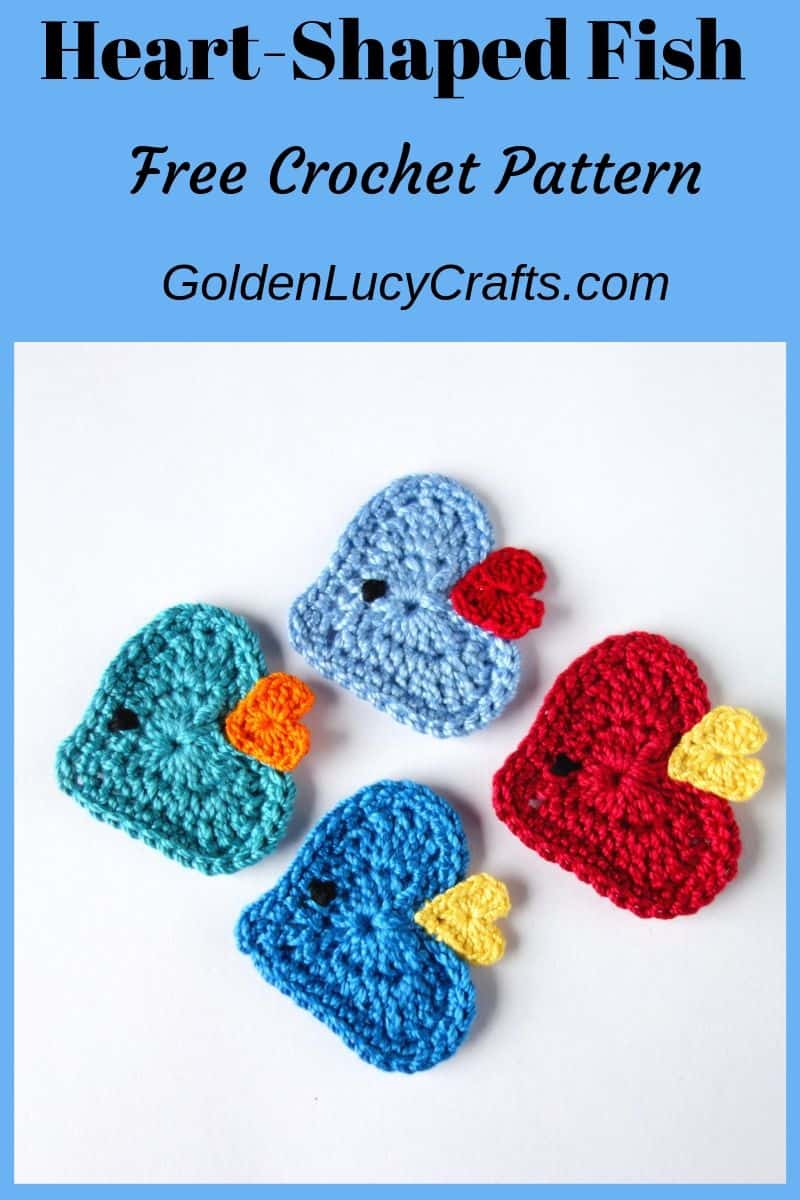 Crochet fish applique, free pattern