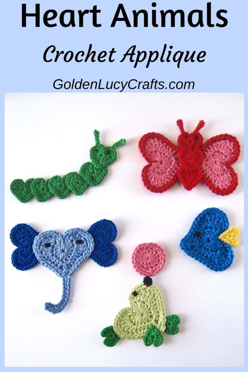 Crochet heart animals, free crochet pattern