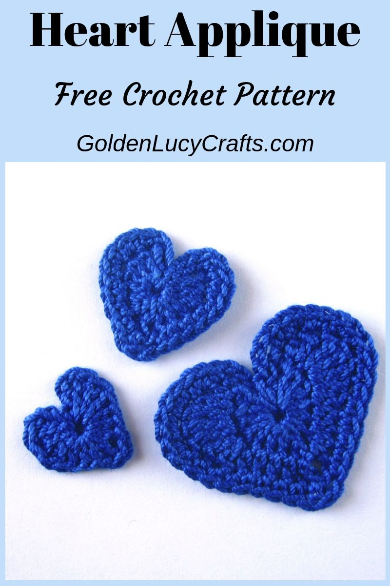 Crochet heart applique, hearts in three sizes, free crochet pattern