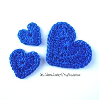 Crochet hearts, heart applique free crochet pattern