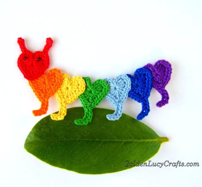 Crochet rainbow caterpillar