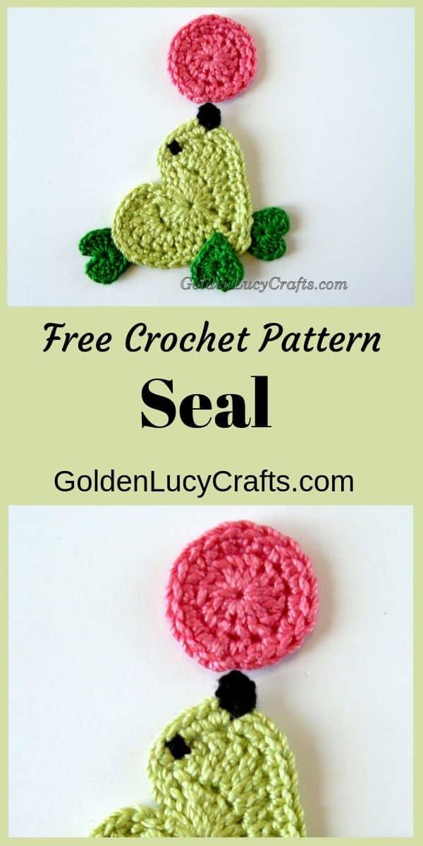 Crochet seal applique, heart-shaped seal crochet pattern, crochet seal free pattern