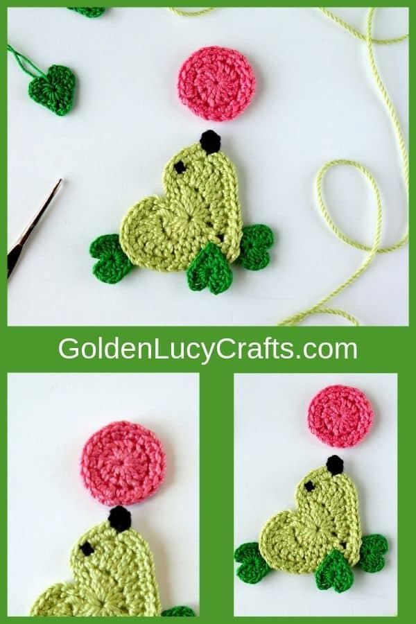 Crochet seal applique, heart-shaped seal, seal crochet pattern, crochet seal applique free pattern