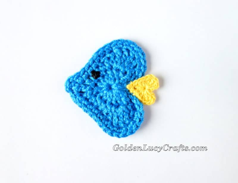 Crochet Fish Applique, Free Crochet Pattern, Heart Shaped ...