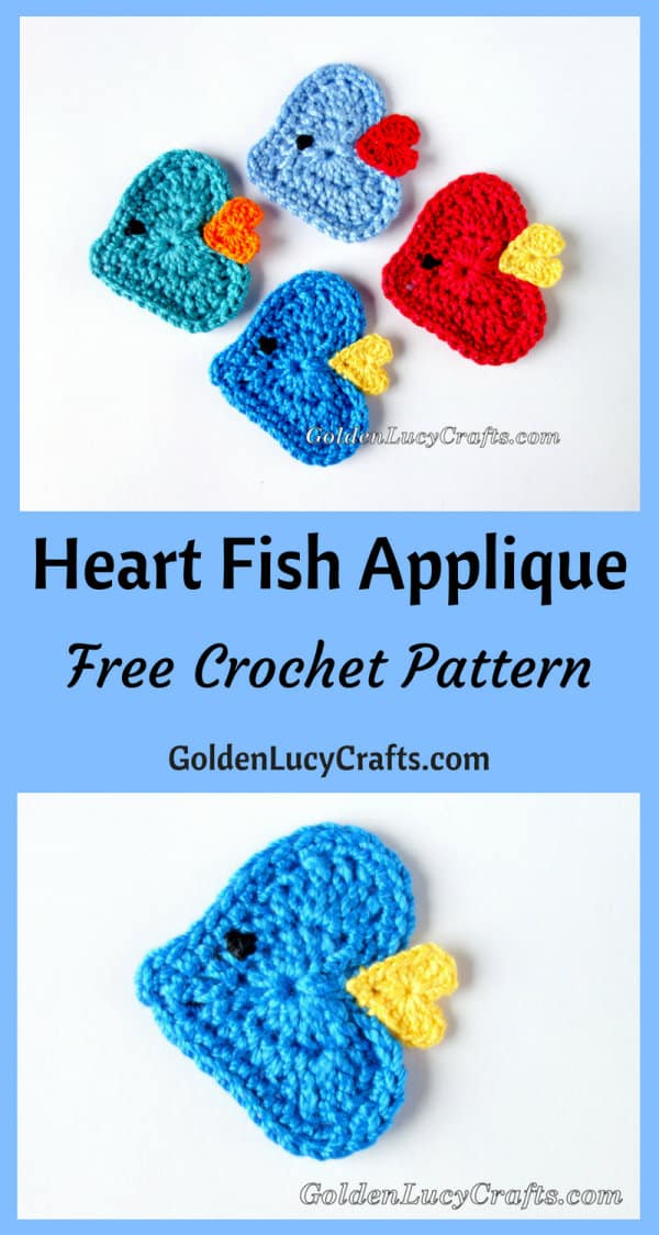 Crochet fish applique, free crochet pattern