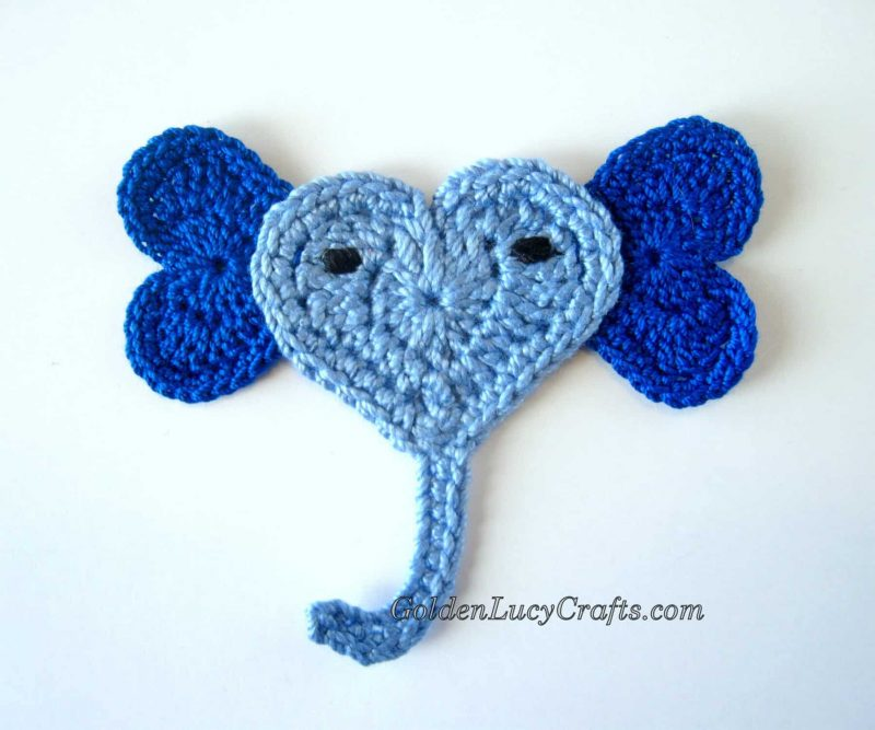 Crochet heart-shaped Elephant applique