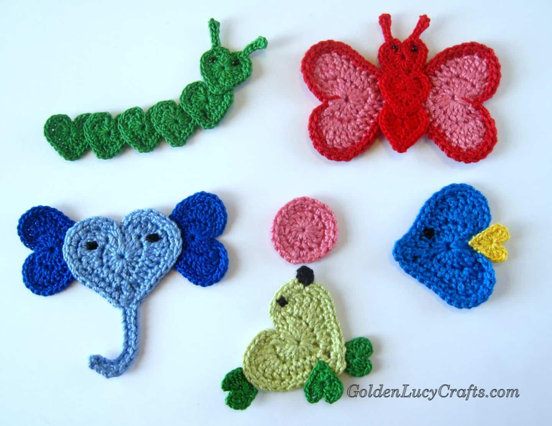 Crochet Heart Animals Appliques