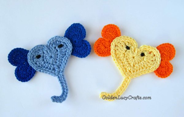 Crochet Elephant appliques, heart-shaped Elephants
