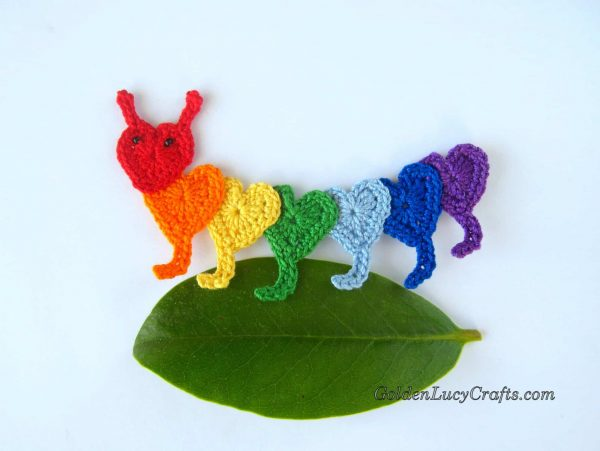Crochet Heart Applique Caterpillar
