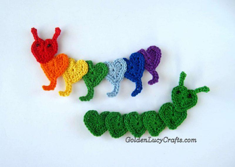Crochet caterpillar applique, heart caterpillar