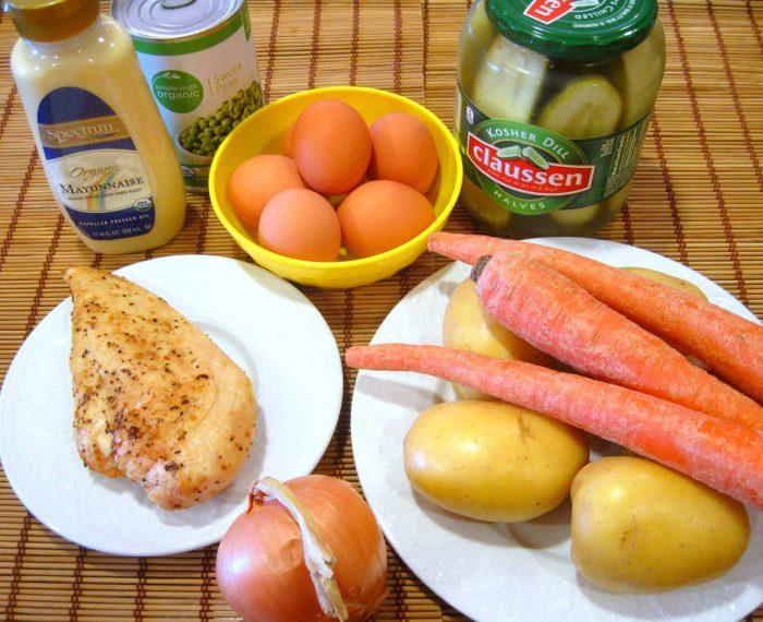 Salad Olivie, Olivier, Olivye, Russian, Ukrainian salad, potato salad, New Year