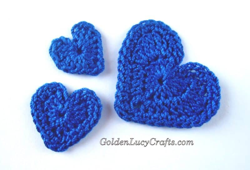 Crochet Hearts Applique, Free Crochet Pattern - GoldenLucyCrafts