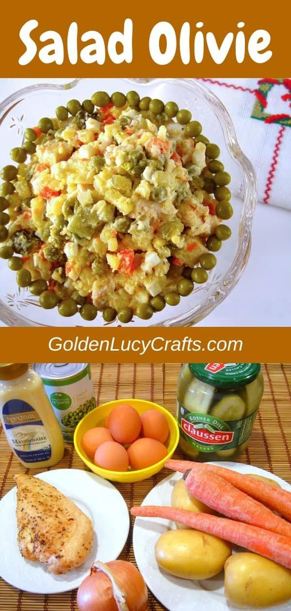 Olivie salad, Olivier, Olivye, Russian, Ukrainian salad, potato salad
