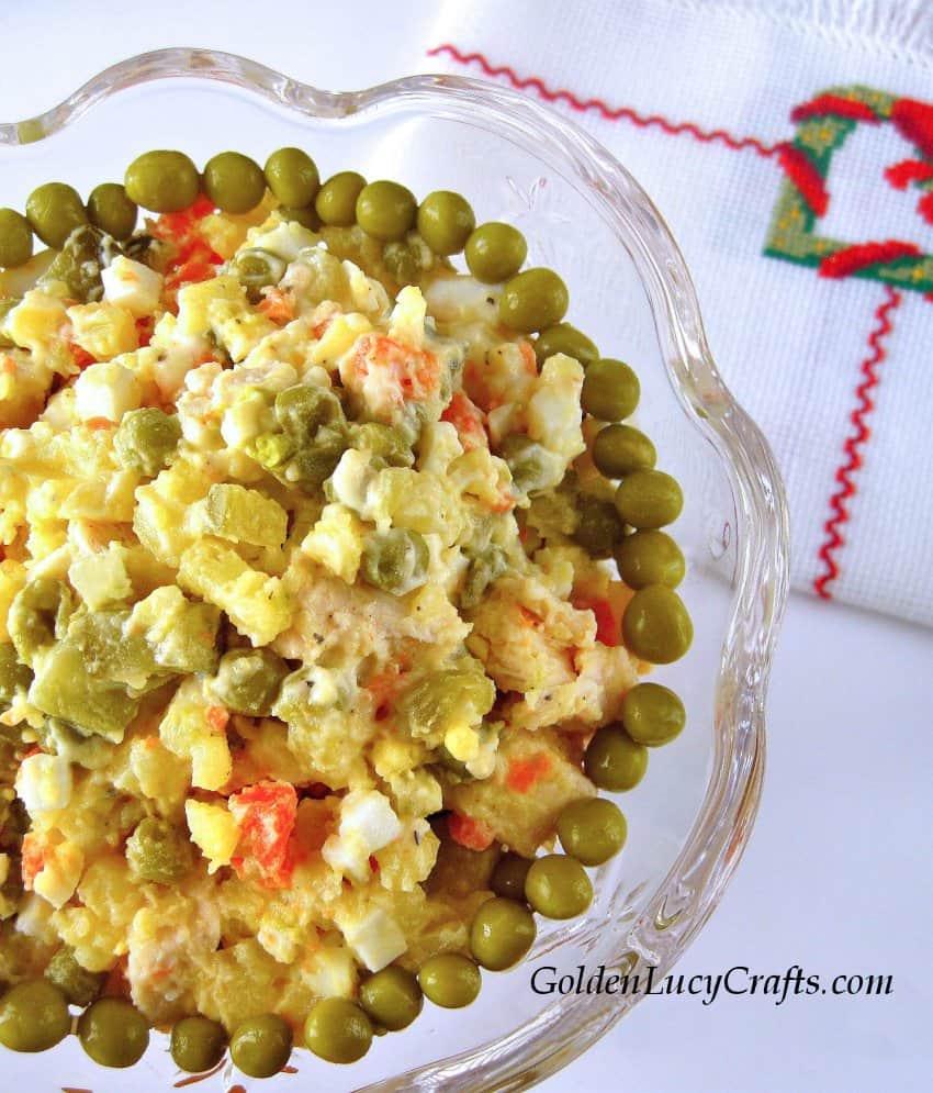 Salad Olivie, Olivier, Olivye, Russian, Ukrainian salad, potato salad
