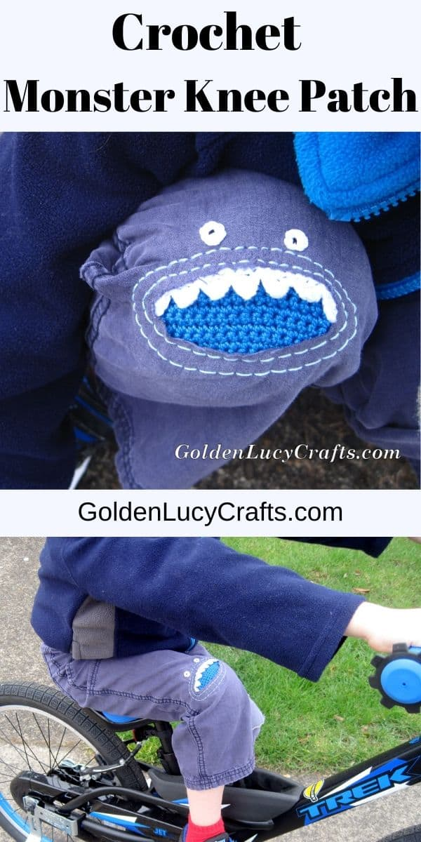 Crochet monster knee patch, DIY patches for kids pants, jeans