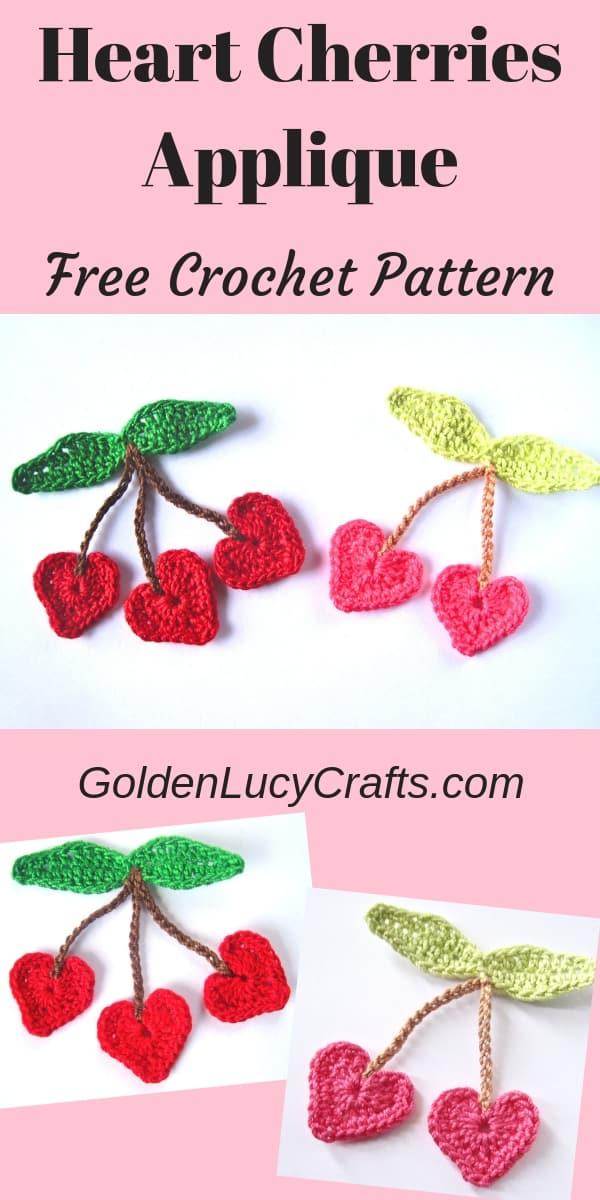 Crochet Cherry applique, heart cherries