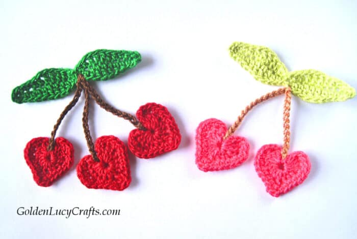 Crochet appliques - heart-shaped cherries