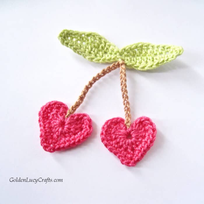 Crochet heart cherry applique