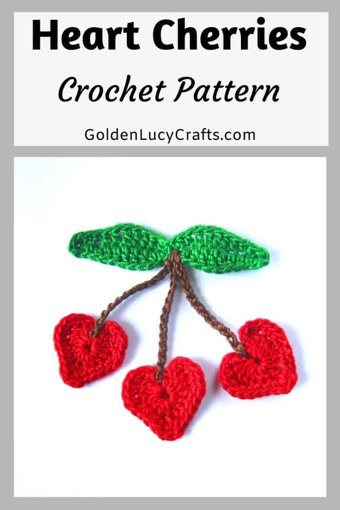 Crochet heart cherries applique