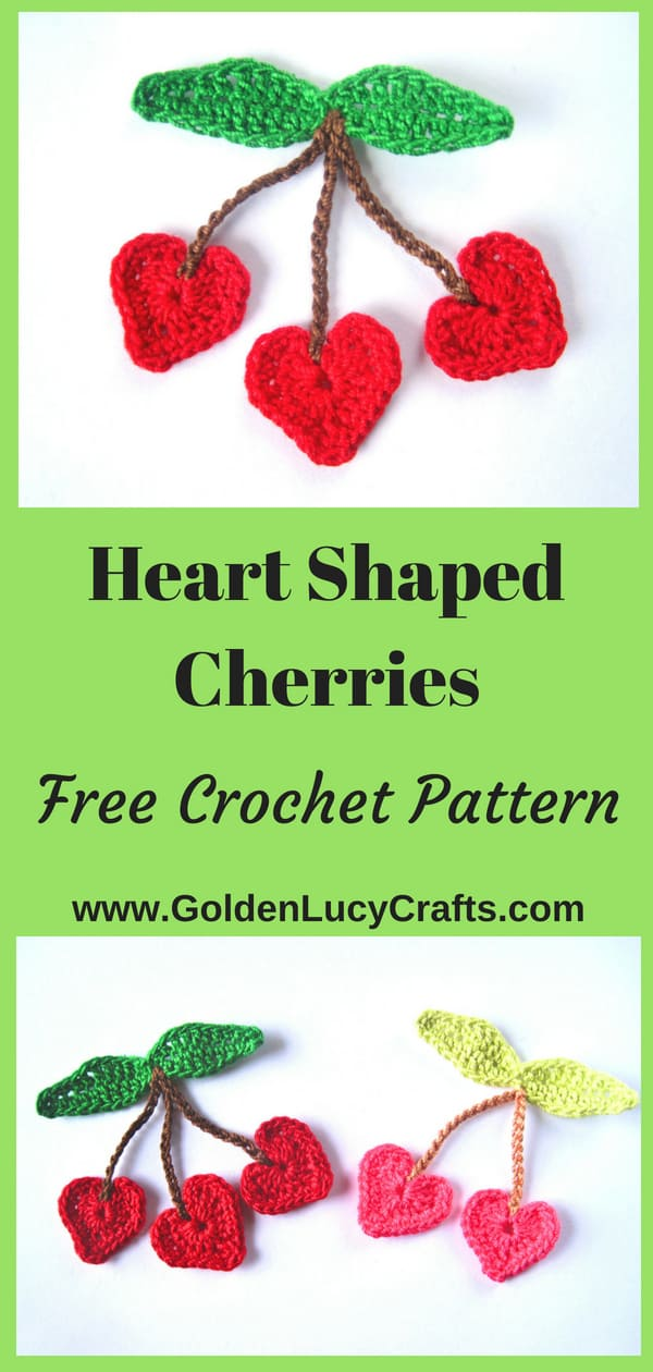 Crochet heart cherry applique, free pattern