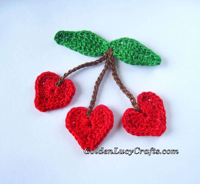 Crochet Cherry Hearts Appliqué