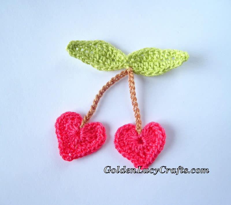 Crochet Cherry Appliqué