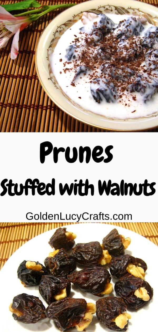 Prunes stuffed with walnuts in sweet cream, dessert recipe