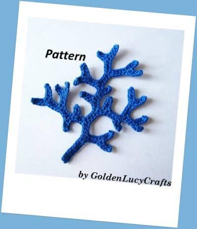 Crochet appliques embellishment - coral