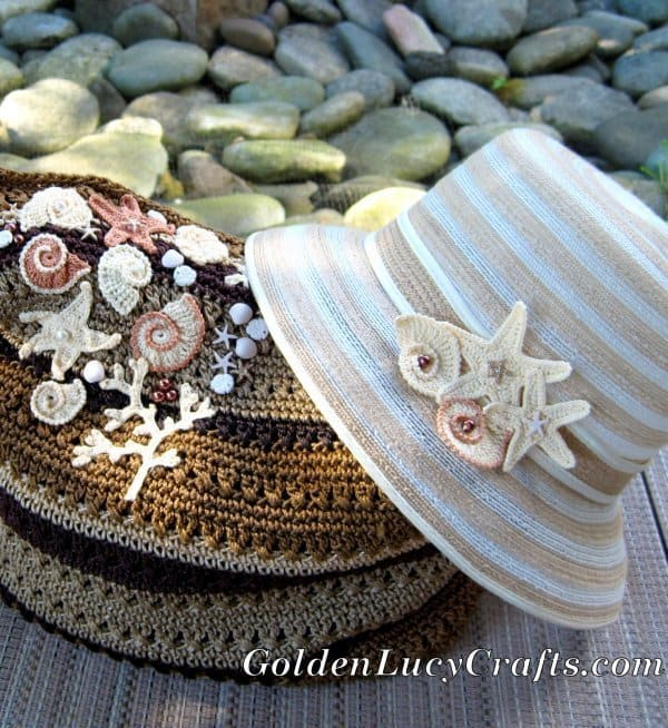 Bag and hat embellished with sea motifs crochet appliques