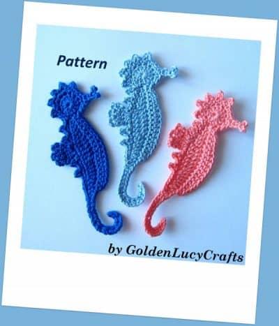 Crochet applique sea horse