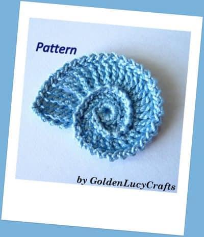 Crochet seashell applique pattern