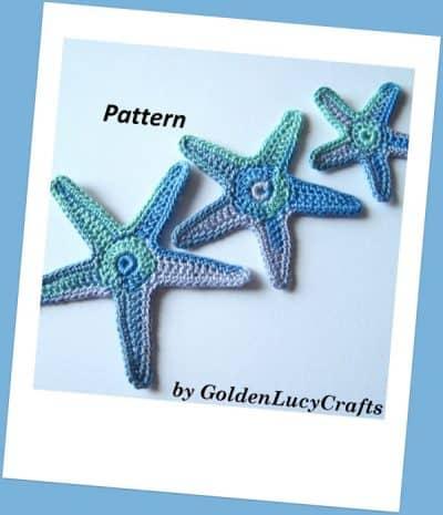 Crochet appliques embellishment - starfish