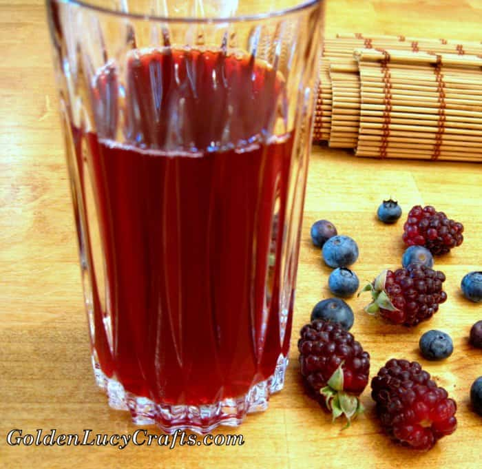Homemade berry drink kompot, traditional Ukrainian drink