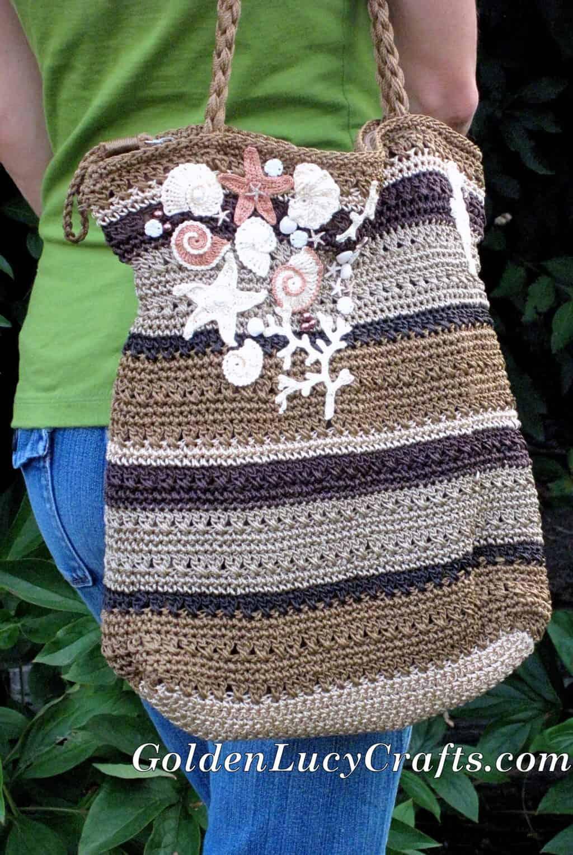 Crochet Motifs Embellished bag – Ocean Theme