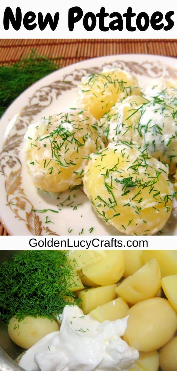 New potatoes with sour cream and dill, traditional Ukrainian recipe