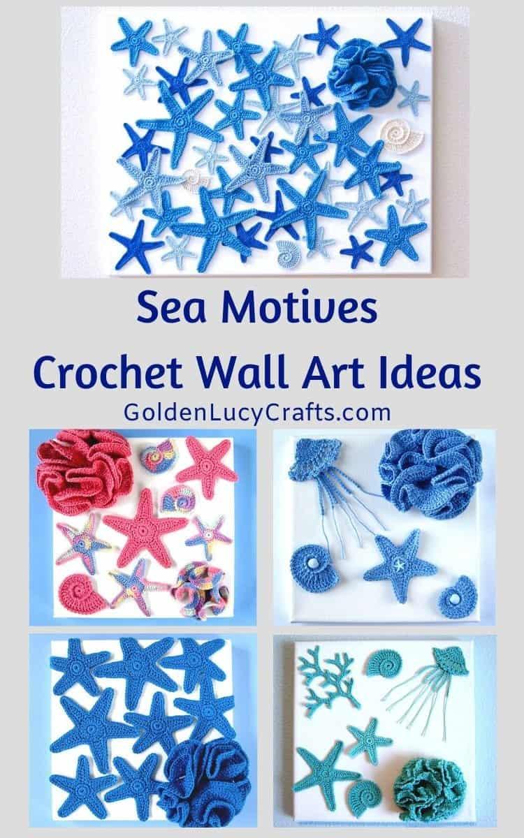 Crochet wall art ideas inspired by the sea. Sea crochet motives, crochet applique, ocean theme, home decor, wall hanging