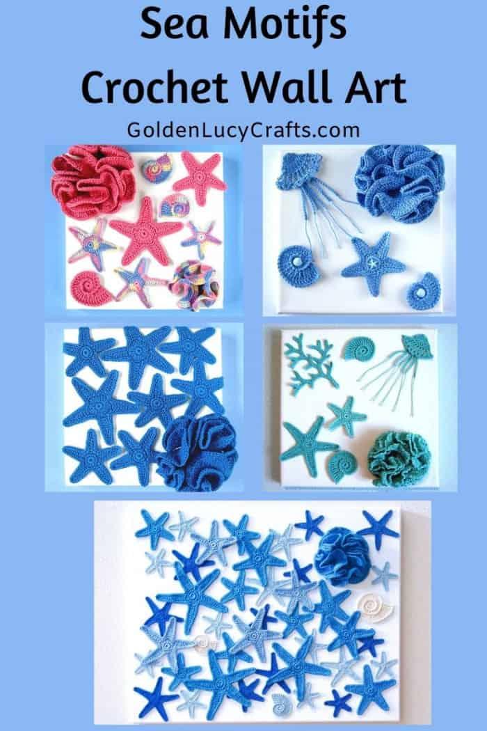 Crochet wall arts - sea motifs, appliques