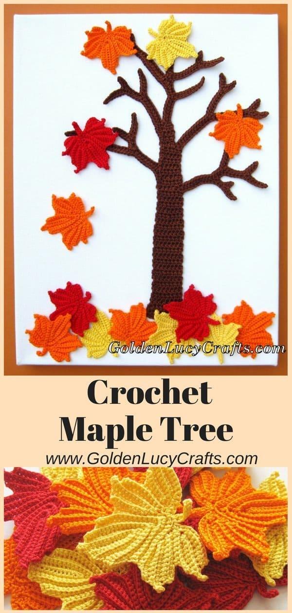 Crochet Maple Tree, crochet fall wall art, crochet wall decor