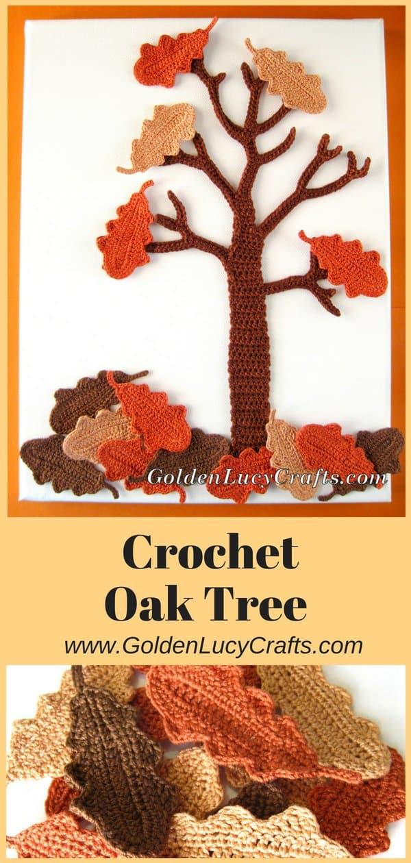 Crochet Oaktree wal art, oak tree wall hanging