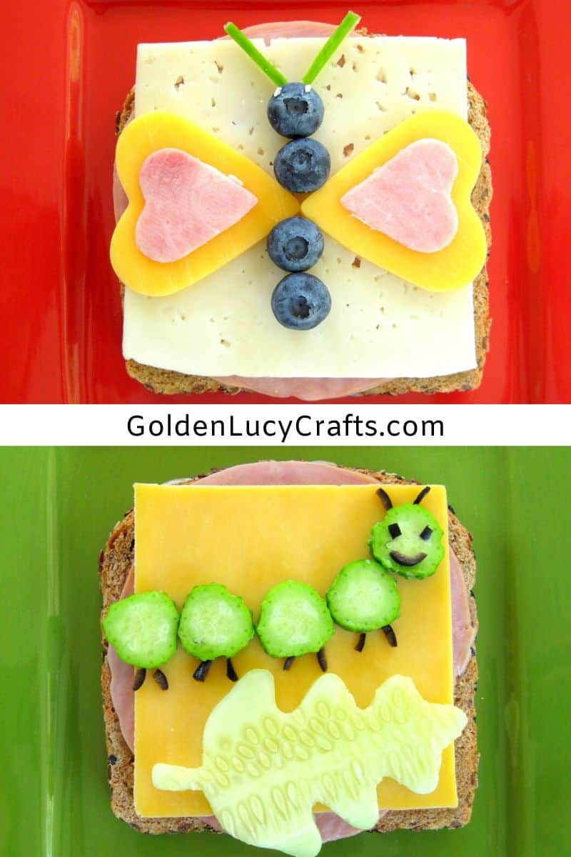 Fun sandwich, fun food - butterfly, caterpillar